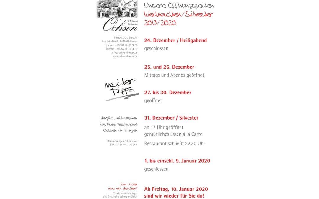 Unsere aktuellen Öffnungszeiten Weihnachten/Silvester